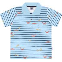Camisa Polo Trick Gola Estampa Carangueijo Azul