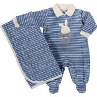 Macacão Anjos Baby Infantil Listrado Coelhinho Masculino - Masculino-Azul