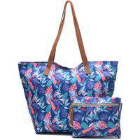 Bolsa Tote Tecido Impermeável Floral Zíper Com Necessaire Azul