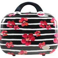 Frasqueira Floral- Preta & Branca- 24X14X32Cm- Jjacki Design