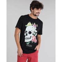6c24947914 CEA  Camiseta Masculina Botonê Caveira Manga Curta Gola Careca Preta