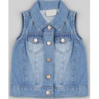 Colete Jeans Infantil Com Bolsos Azul Médio