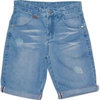 Bermuda Jeans Lápis De Cor Azul