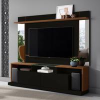 Rack Com Painel Para Tv Até 65 Polegadas Malibu Preta E Nature 200 Cm