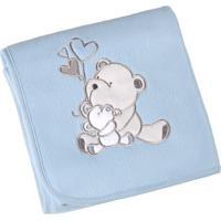 Manta Fleece Para Bebê Lepper Bordada Mini Urso 82X82Cm Azul