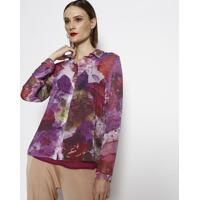 Camisa Floral- Rosa & Roxa- Cotton Colors Extracotton Colors Extra