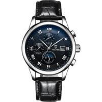Relógio Tevise 9008 Masculino Automático Pulseira De Couro - Preto
