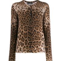 Dolce & Gabbana Cardigan Com Estampa Animal Print - Marrom