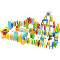 Jogo Tooky Toy Educativo - Dominó Animais - 116 Peças Em Madeira - Tkf072 - Multicolorido