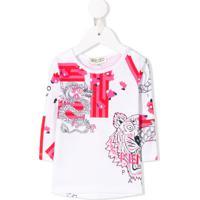 Kenzo Kids Blusa Com Estampa De Tigre - Branco