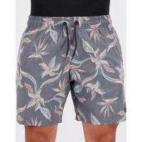 Short Rusty Pool Party Floral Cinza