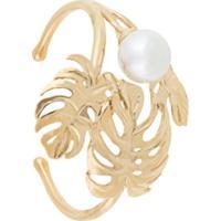Ingie Paris Leaf And Pearl Bangle Bracelet - Dourado