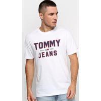 Camiseta Tommy Jeans Logo Retrô Masculina - Masculino-Branco