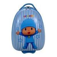 Mala Rígida Infantil Pequena De Rodinhas Para Viagem Pocoyo - Azul E Branco - Pode Ser Utilizada Com Mala De Bordo - Santino