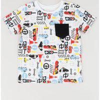 Camiseta Infantil Carros Estampada Com Bolso Manga Curta Gola Careca Branca