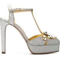 Casadei Sapato Boenca Com Aplicações - Cinza