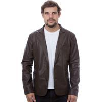 Blazer De Couro Javali Slim 850 Marrom