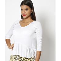 Blusa Com Botões & Franzidos - Branca- Lança Perfumelança Perfume