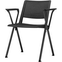 Cadeira Up Com Bracos Base Fixa Preta - 54289 - Sun House