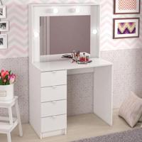 Penteadeira Camarim Fran Com Espelho Branco - Pnr Móveis