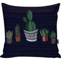 Capa Para Almofada Garden- Azul Marinho & Verde- 45Xstm Home