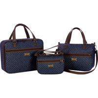 Conjunto De Bolsas Maternidade Coleção Jeans 03 Peças - Azul Jeans / Chocolate