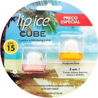 Lip Ice Cube Kit Protetor Hidratante Labial Fps15 Baunilha+Pessêgo Com Manga 1 Unidade