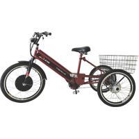 Triciclo Duos Elétrico 800W Com Pedal E Freio A Disco Vermelho Cereja