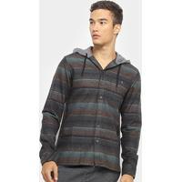 Camisa Billabong Baja Flannel Manga Longa Masculina - Masculino-Preto
