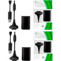 Kit Com 2 Baterias E Carregador Para Controle Xbox 360