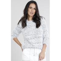 Suéter Feminino Longo Em Tricô Felpado Manga Longa Branco