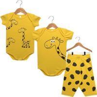 Kit Bebê Nigambi Girafa 3 Peças Unissex - Unissex-Amarelo