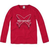 """Camiseta """"Unstoppable""""- Vermelha & Branca- Kids-Hering"""