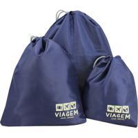 """Kit Organizador De Malas """"Viagem""""- Azul Escuro & Bege Cljacki Design"""