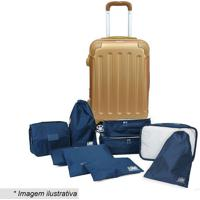 Kit De Organizadores Para Viagem + Mala- Azul Escuro & Dluggtogo
