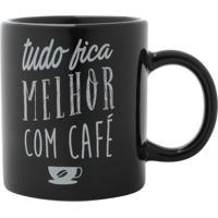 """Mini Caneca """"Tudo Fica Melhor Com Café""""- Preta & Branca"""