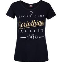 Camiseta Do Corinthians - Feminina - Preto