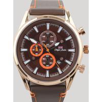 Relógio Cronógrafo Philip London Masculino - Pl80018612M Marrom - Único