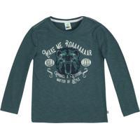 """Camiseta Flam㪠""""Make Me Roar""""- Verde Escuro & Azul Marinpuc"""