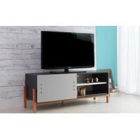 Rack Para Tv Preto Moderno Vintage Retrô Com Porta De Correr Cinza Eric - 126X43,6X48,5 Cm