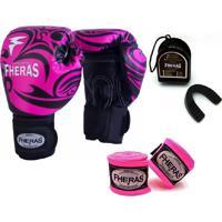 Kit Boxe Muay Thai Fheras New Top Luva + Bandagem Tribal Rosa 007