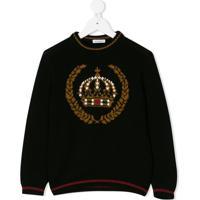 Dolce & Gabbana Kids Suéter Com Desenho De Coroa - Preto