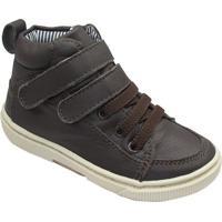 Tênis Em Couro Com Velcro & Amarração- Marrom Escuro & Bkimey