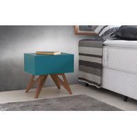 Criado-Mudo Retrô Colorido Azul Design Moderno Vintage Freddie - 46,6X34,1X45,2 Cm