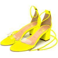 Sandália Feminina Salto Grosso Médio Em Napa Amarelo Neon Com Transparência