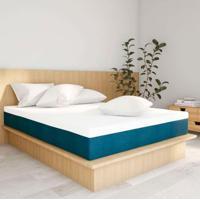 Colchão King Macio Com 2 Travesseiros Guldi Soft Azul E Branco