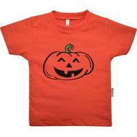 Camiseta Primeiros Passos Nigambi Abóbora Halloween Laranja