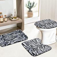 Jogo Banheiro Dourados Enxovais Safari 03 Peças Zebra