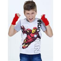 Camiseta Infantil Estampa Homem De Ferro Brinde Luva Marvel
