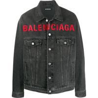 Balenciaga Jaqueta Jeans Com Logo Bordado - Cinza